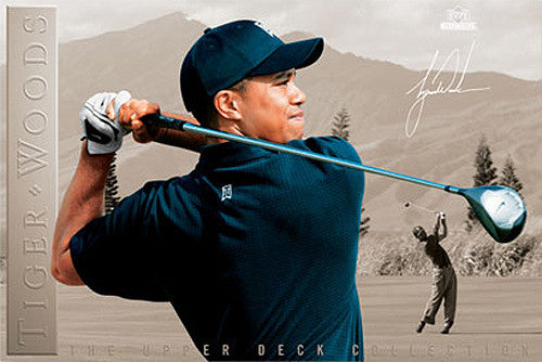 "Tiger Woods ""Determination"" PGA Golf Poster - Upper Deck"