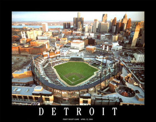 "Comerica Park ""First Night Game"" Detroit Tigers Premium Poster Print - Aerial Views"