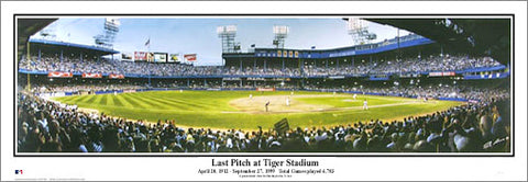 "Detroit Tigers ""Last Pitch at Tiger Stadium"" Panoramic Poster Print (1999) - Everlasting"