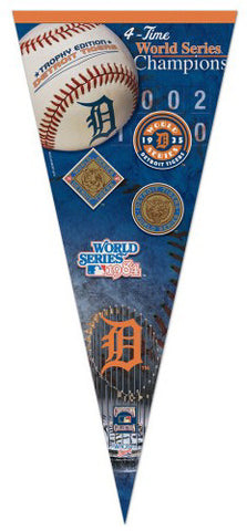 Detroit Tigers 4-Time World Champs EXTRA-LARGE Premium Pennant