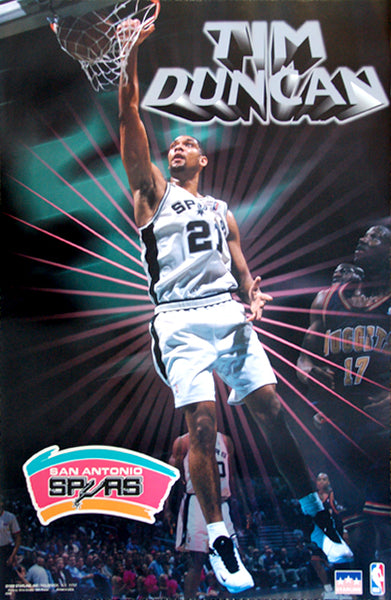 "Tim Duncan ""Shine"" San Antonio Spurs NBA Action Poster - Starline Inc. 1999"