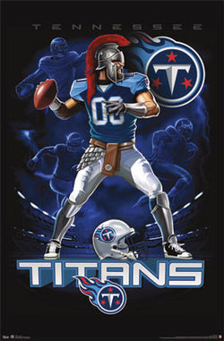 "Tennessee Titans ""On Fire"" NFL Theme Art Poster - Costacos Sports"