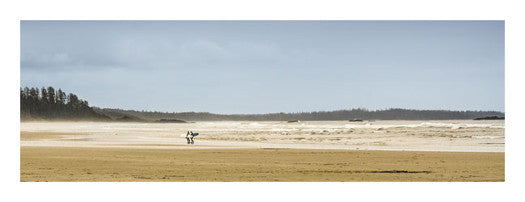 "Tofino, BC, Canada ""Surfers on the Beach"" Panoramic Poster Print - Canadian Art Prints"