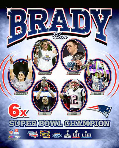 Tom Brady Six-Time Super Bowl Champion (2019) New England Patriots Premium Poster - Photofile 16x20