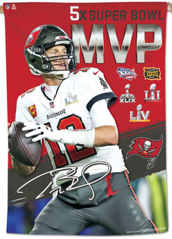 "Tom Brady 5-Time Super Bowl MVP Tampa Bay Buccaneers 2021 Super Bowl LV 28"" x 40"" BANNER - Wincraft Inc."