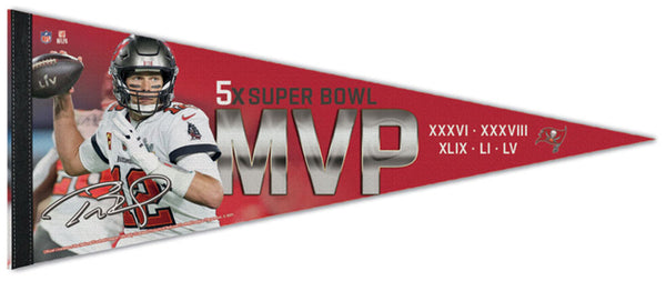 Tom Brady Super Bowl LV (2021) MVP Tampa Bay Buccaneers Premium Felt Collector's Pennant - Wincraft Inc.