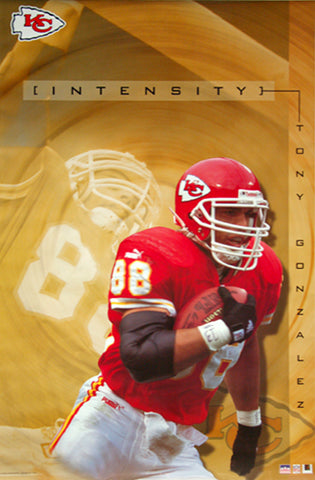"Tony Gonzalez ""Intensity"" Kansas City Chiefs Poster - Starline 2001"