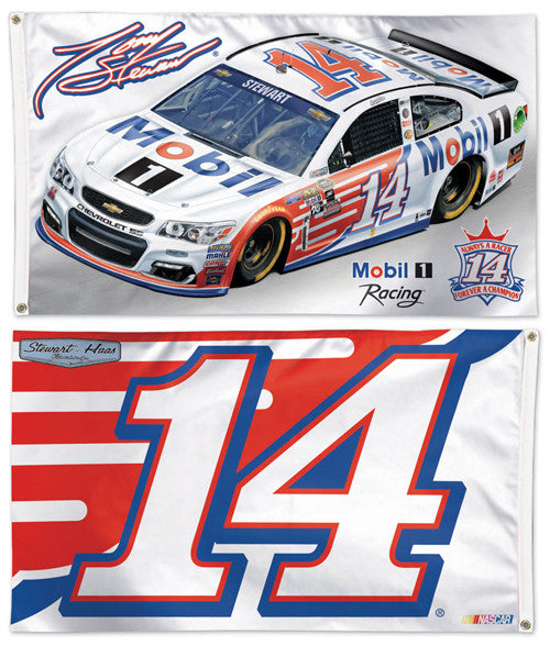 Tony Stewart NASCAR #14 Mobil 1 Chevy Huge 3' x 5' 2-Sided DELUXE Banner FLAG - Wincraft 2016