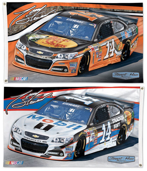 Tony Stewart NASCAR #14 Bass Pro/Mobil 1 Huge 3' x 5' 2-Sided Banner Flag - Wincraft 2015