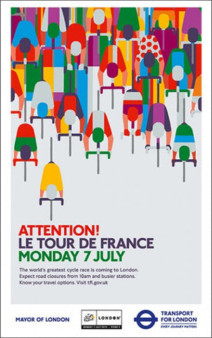 Tour de France 2014 in London UK Tom Eckersley Style Cycling Poster #2/2 - London Transport Museum