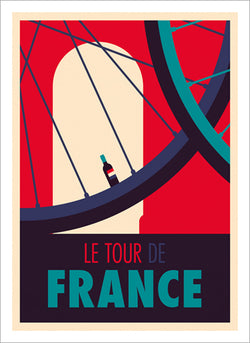 "Cycling Art by Spencer Wilson ""Le Tour de France"" (Wine Bottle Valve Stem) Premium Poster Print"