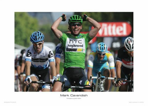"Mark Cavendish ""Green Jersey 2011"" Tour de France Cycling Poster - Graham Watson"