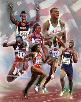 "USA Olympic Track Stars ""Rush to Gold"" Art Print by Wishum Gregory"