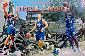 "Dallas Mavericks ""Triple-J Ranch"" Poster (Kidd, Jackson, Mashburn) - Starline 1995"