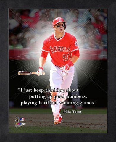 "Mike Trout ""Winning"" Los Angeles Angels FRAMED 16x20 PRO QUOTES PRINT - Photofile"