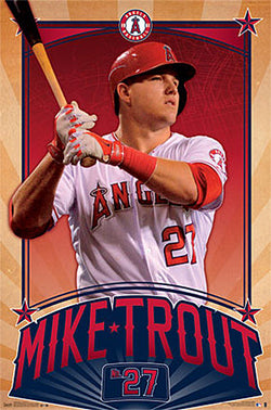 "Mike Trout ""Superstar"" Los Angeles Angels MLB Baseball Wall Poster - Trends"