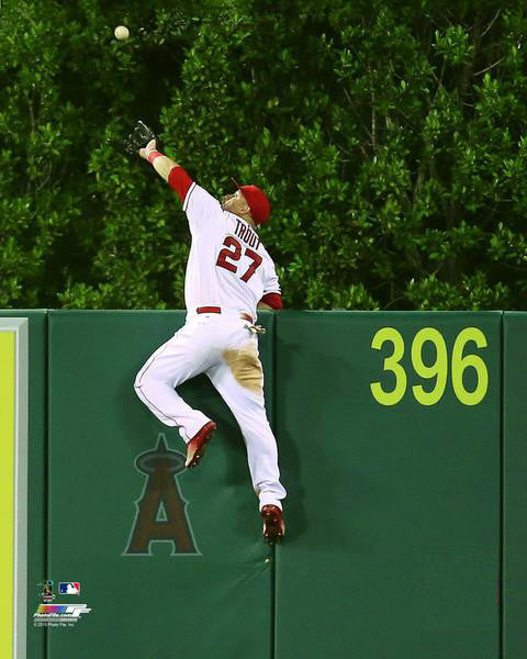"Mike Trout ""Up and Over"" Los Angeles Angels Miracle Catch Premium Poster Print - Photofile 16x20"