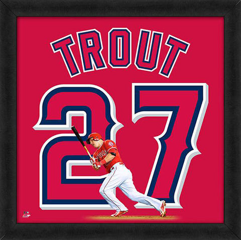 "Mike Trout ""Number 27"" Los Angeles Angels MLB FRAMED 20x20 UNIFRAME PRINT - Photofile"