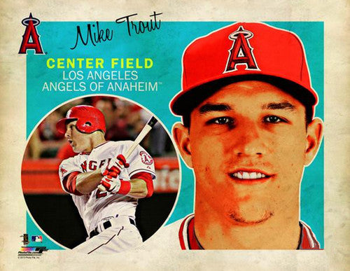 "Mike Trout ""Retro SuperCard"" L.A. Angels Premium Poster Print - Photofile 16x20"