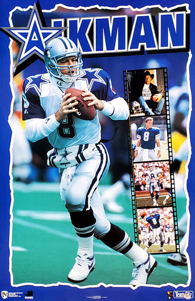 "Troy Aikman ""Superstar"" Dallas Cowboys NFL QB Action Poster - Norman James 1995"