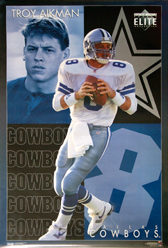 "Troy Aikman ""Elite"" Dallas Cowboys NFL Football Action Poster - Costacos Brothers 1994"