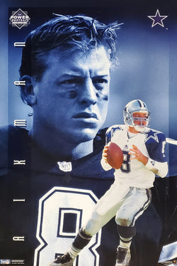 "Troy Aikman ""Power Portrait"" Dallas Cowboys NFL Football Action Poster - Costacos Brothers 1995"