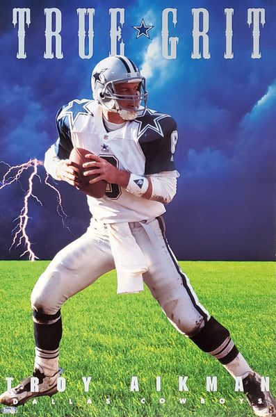 "Troy Aikman ""True Grit"" Dallas Cowboys NFL Football Action Poster - Costacos Brothers 1995"