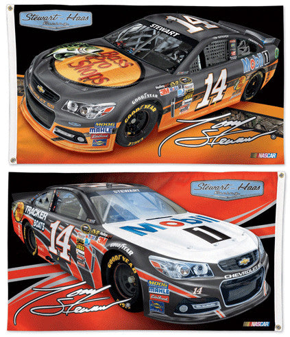 Tony Stewart NASCAR #14 Bass Pro/Mobil 1 Huge 3' x 5' 2-Sided Banner Flag - Wincraft 2013