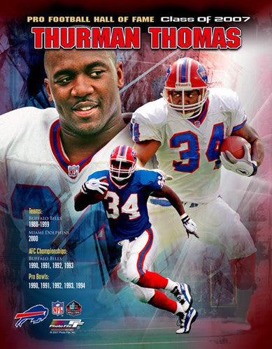 Thurman Thomas Buffalo Bills Hall of Fame Commemorative Premium Poster Print - Photofile Inc.