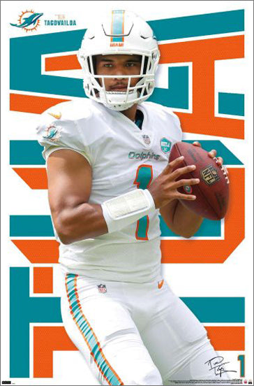 "Tua Tagovailoa ""Gunslinger"" Miami Dolphins QB Official NFL Football Wall Poster - Trends International"