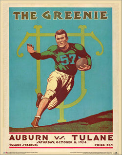"Tulane Football ""The Greenie"" 1934 vs. Auburn Vintage Program Cover Poster Print - Asgard Press"