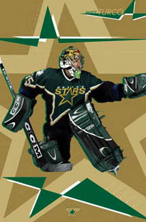 "Marty Turco ""Golden Star"" Dallas Stars Poster - Costacos 2003"