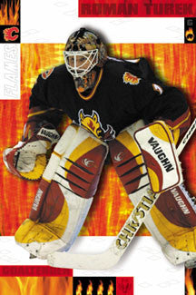"Roman Turek ""On Fire"" Calgary Flames Poster - Costacos 2002"