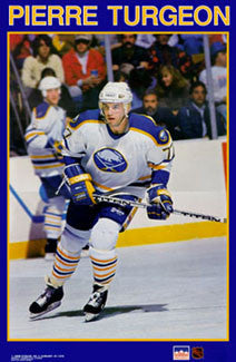 "Pierre Turgeon ""Sabres Superstar"" Buffalo Sabres NHL Hockey Action Poster - Starline Inc. 1990"
