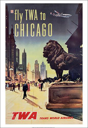 Fly TWA to Chicago Vintage Travel Poster Reprint (c.1950)