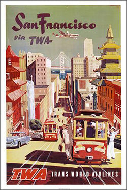 San Francisco Via TWA Vintage Travel Poster Reprint (c.1950)