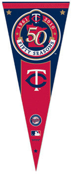 Minnesota Twins 50th Season Commemorative Felt Pennant