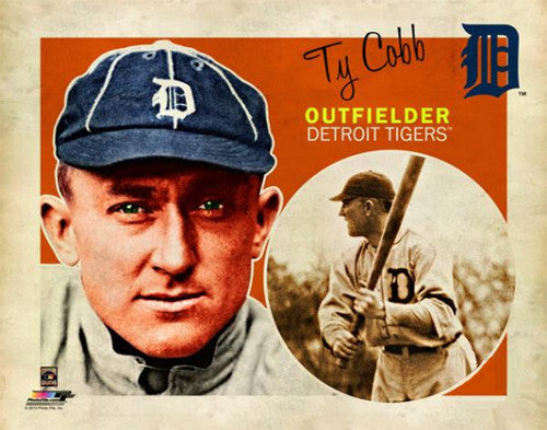 "Ty Cobb ""Retro SuperCard"" Detroit Tigers Premium Poster Print - Photofile 16x20"