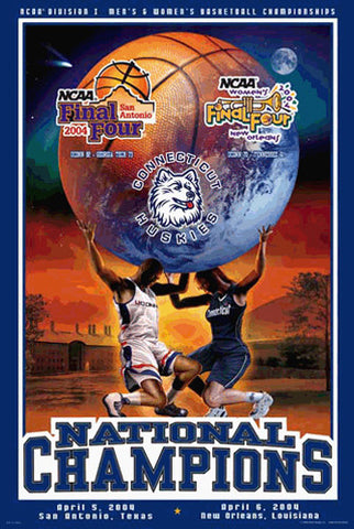 University of Connecticut Huskies  Basketball Dual Champions 2004 Commemorative Poster