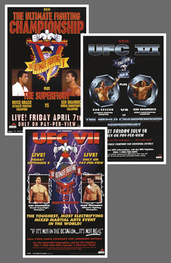 "UFC #5, #6, #7 Official Event Poster Reproductions Set (13""x19"") - Pyramid America"