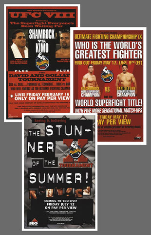 "UFC #8, #9, #10 Official Event Poster Reproductions Set (13""x19"") - Pyramid America"