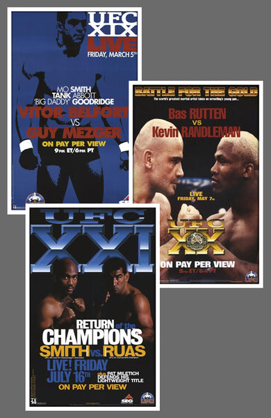 "UFC #19, #20, #21 Official Event Poster Reproductions Set (13""x19"") - Pyramid America"