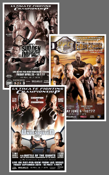 "UFC #42, #43, #44 Official Event Poster Reproductions Set (13""x19"") - Pyramid America"