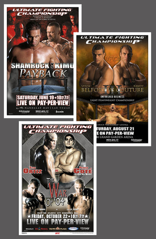 "UFC 48, 49, 50 Official Event Poster Reproductions Set (13""x19"") - Pyramid America"