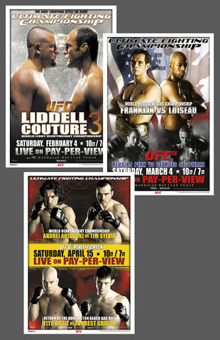 "UFC 57, 58, 59 Official Event Poster Reproductions Set (13""x19"") - Pyramid America"