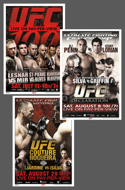 "UFC 100, 101, 102 Official Event Poster Reproductions Set (13""x19"") - Pyramid America"