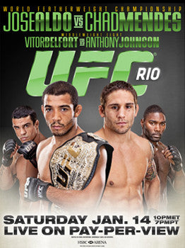 UFC 142 (Aldo vs. Mendes) Official Fight Bill Poster (Rio 1/14/2012)