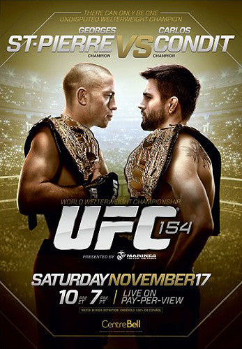 UFC 154 Official Fight Bill Poster (St-Pierre vs Condit, Montreal 11/17/2012)