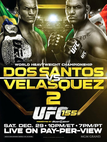 UFC 155 Official Fight Bill Poster (dos Santos vs Velasquez, Las Vegas 12/29/2012)