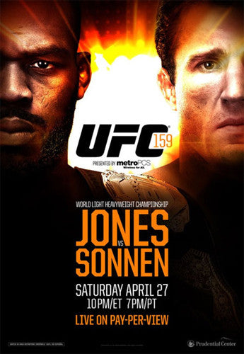 UFC 159 Official Fight Bill Poster (Jon Jones vs Chael Sonnen, 4/27/2013)